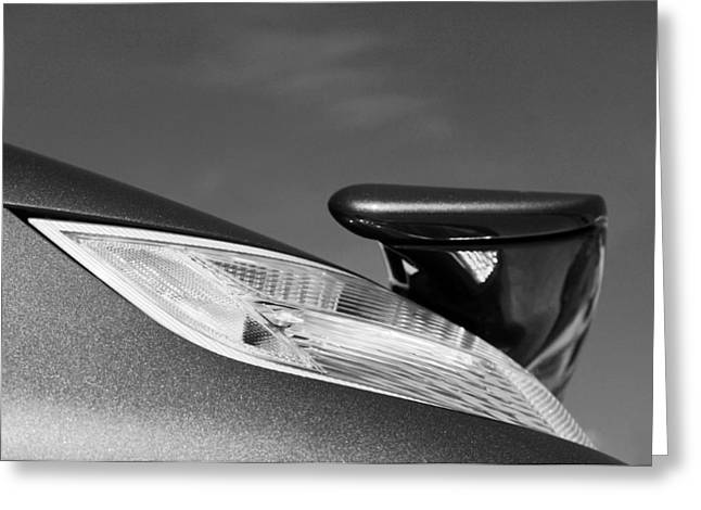 Cabriolet Greeting Cards - 2008 Porsche Turbo Cabriolet Tail Fin black and white Greeting Card by Jill Reger