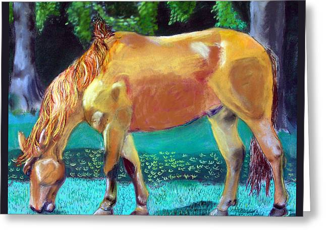 Barrel Pastels Greeting Cards - 2009081315 Grazing Horse Greeting Card by Garland Oldham