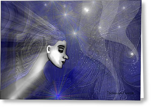 Pensive Digital Greeting Cards - 201 -   Traveling  through   veils of Universe Greeting Card by Irmgard Schoendorf Welch