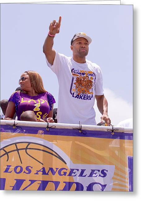 Lakers Greeting Cards - 2010 Champs Derek Fisher Greeting Card by Carl Jackson