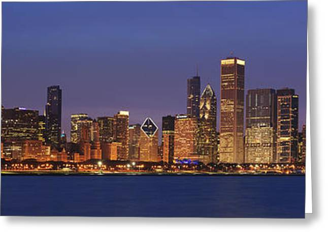 Night Scenes Greeting Cards - 2010 Chicago Skyline Greeting Card by Donald Schwartz