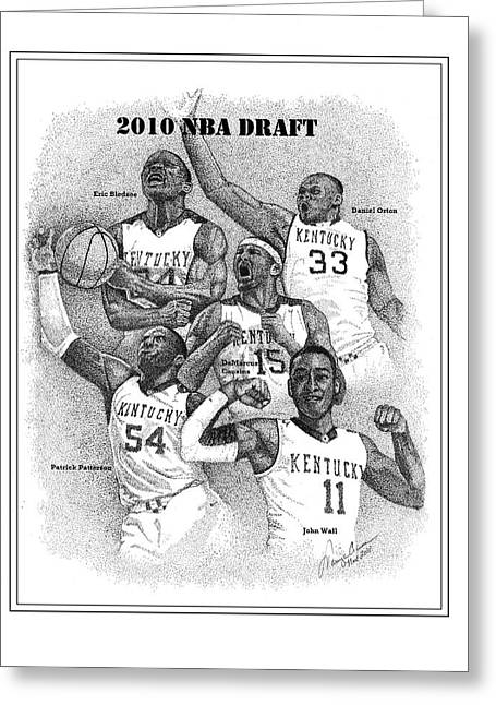 Wildcats Drawings Greeting Cards - 2010 NBA Draft Greeting Card by Tanya Crum