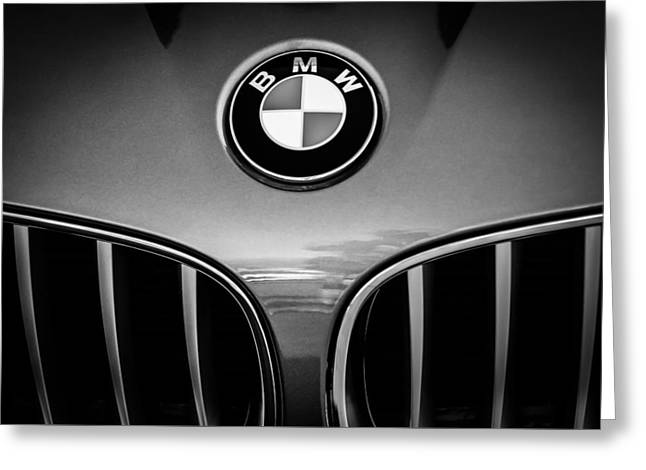 2011 Greeting Cards - 2011 BMW Emblem -0318bw Greeting Card by Jill Reger