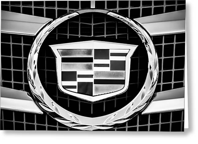 2011 Greeting Cards - 2011 Cadillac CTS Performance Collection Emblem -0584bw55 Greeting Card by Jill Reger