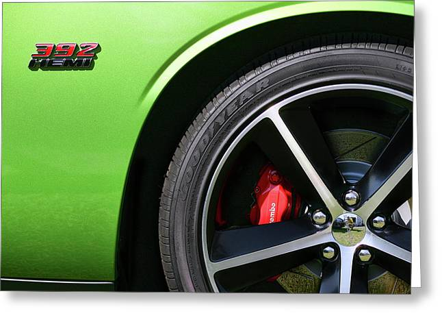 Envy Greeting Cards - 2011 Dodge Challenger SRT8 392 Hemi Green with Envy Greeting Card by Gordon Dean II