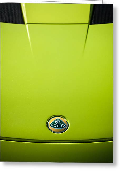 2011 Greeting Cards - 2011 Lotus Evora S Hood Emblem -0592c Greeting Card by Jill Reger