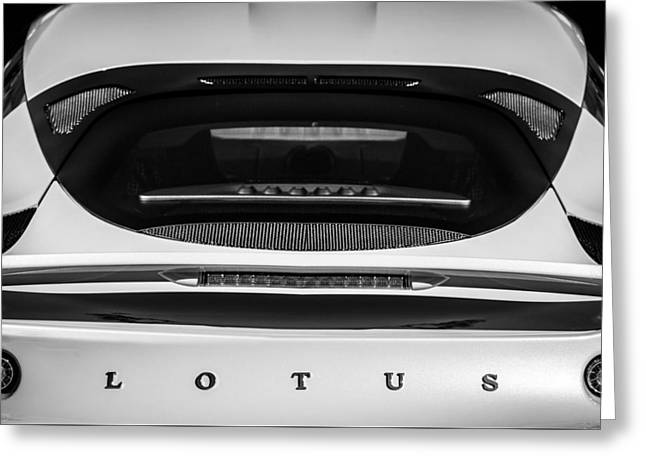 2011 Greeting Cards - 2011 Lotus Evora S Taillight Emblem -0599bw Greeting Card by Jill Reger