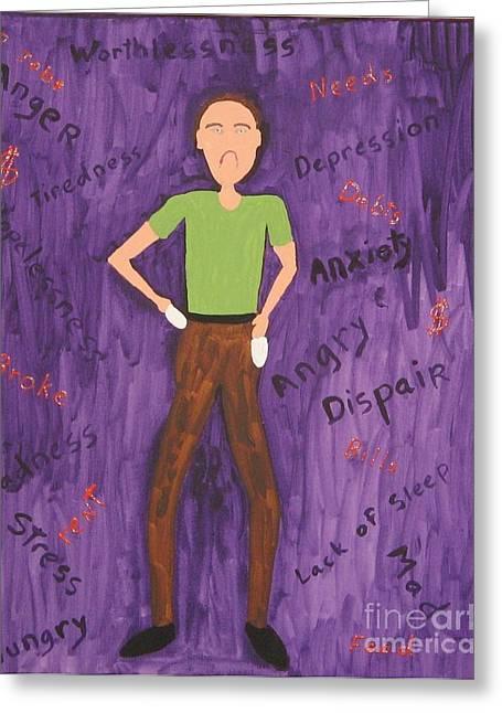 Debt Paintings Greeting Cards - 2011 Worried man Greeting Card by Gregory Davis