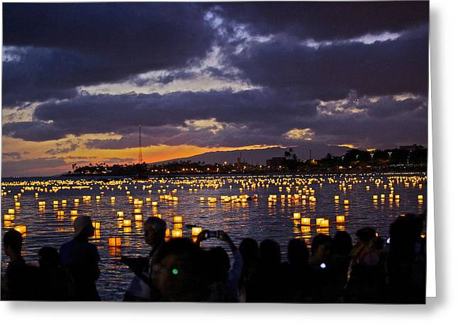 Ala Moana Greeting Cards - 2012 Lantern Lighting 2 Greeting Card by Eddie Freeman
