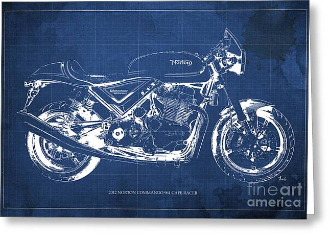 2012 Norton Commando 961 Cafe Racer Motorcycle Blueprint - Blue Background Greeting Card by Pablo Franchi