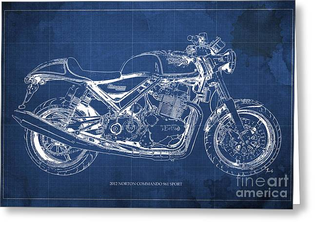 2012 Norton Commando 961 Sport Blueprint Classic Motorcycle Blue Background Greeting Card by Pablo Franchi