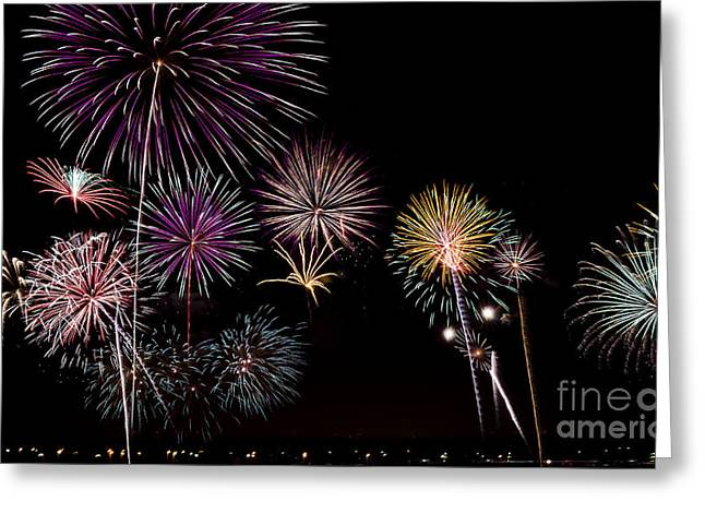 Andrea Silies Greeting Cards - 2013 Fireworks Over Alton Greeting Card by Andrea Silies