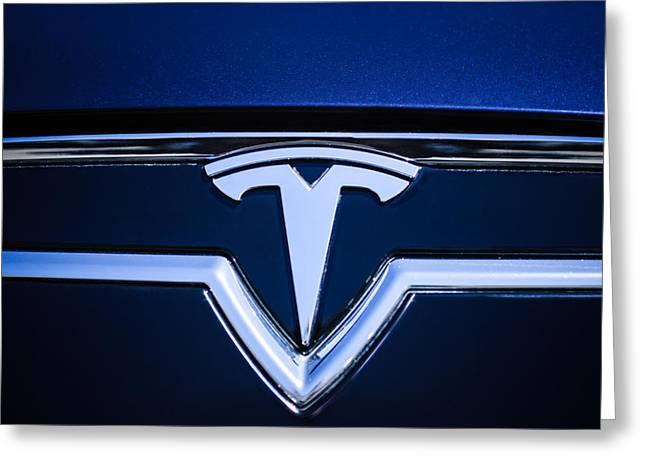 2013 Greeting Cards - 2013 Tesla Model S Emblem -0122c1 Greeting Card by Jill Reger