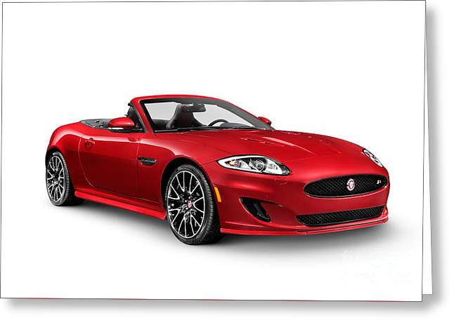 Cut-outs Greeting Cards - 2014 Jaguar XKR convertible sports car Greeting Card by Oleksiy Maksymenko