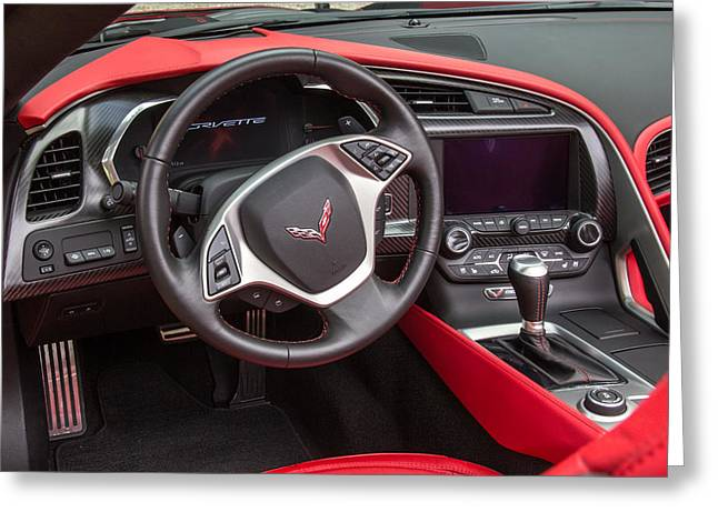 Steering Greeting Cards - 2014 Red Corvette Interior Greeting Card by Robert Kinser
