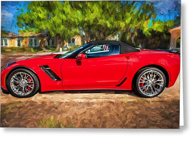 Big Block Greeting Cards - 2015 Chevrolet Corvette ZO6 Painted  Greeting Card by Rich Franco