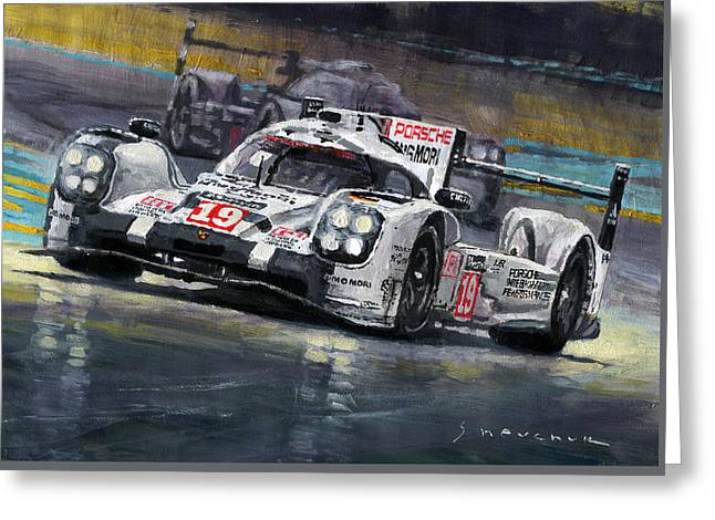 Man Greeting Cards - 2015 Le Mans 24 LMP1 WINNER Porsche 919 Hybrid Bamber Tandy Hulkenberg Greeting Card by Yuriy Shevchuk