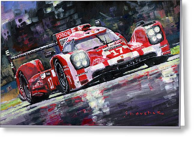 Endurance Greeting Cards - 2015 Le Mans 24H Porsche 919 Hybrid Greeting Card by Yuriy Shevchuk