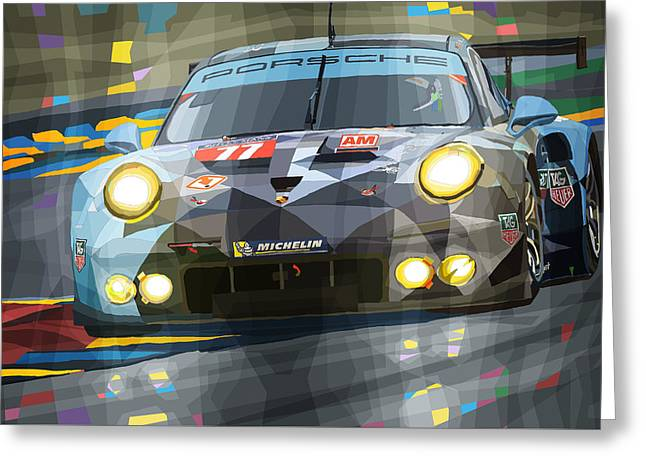 Men Mixed Media Greeting Cards - 2015 Le Mans GTE-Am Porsche 911 RSR Greeting Card by Yuriy Shevchuk