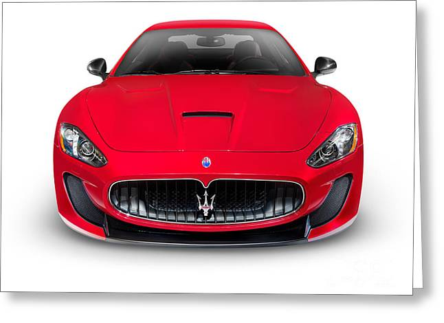 Turismo Greeting Cards - 2015 Maserati GranTurismo MC Centennial Edition luxury car front Greeting Card by Oleksiy Maksymenko