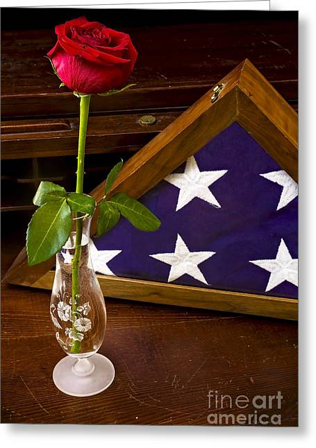 Glass Vase Greeting Cards - 2015 May Rose and Veterans Flag Greeting Card by Rick Grisolano Photography LLC
