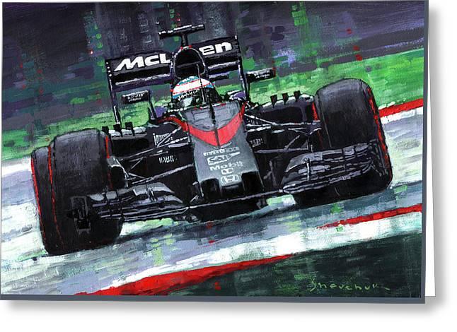 Honda Greeting Cards - 2015 McLaren Honda F1 Austrian GP Alonso  Greeting Card by Yuriy Shevchuk