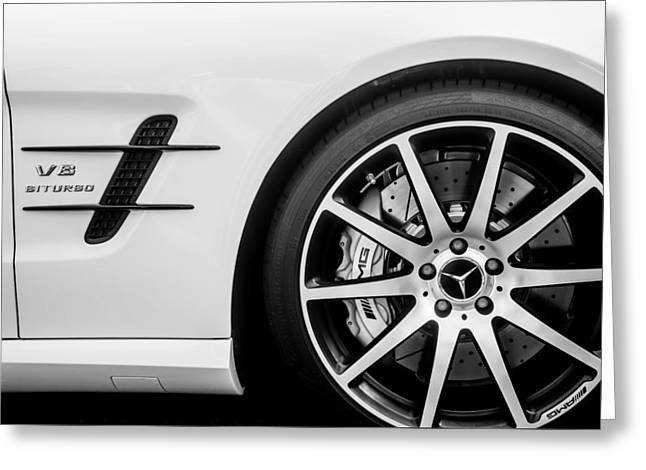 Famous Photographer Greeting Cards - 2015 Mercedes-Benz SL63 AMG Roadster Wheel Emblem -0653bw Greeting Card by Jill Reger