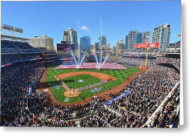 San Diego Padres Stadium Photographs Greeting Cards - 2015 San Diego Padres Home Opener Greeting Card by Mark Whitt