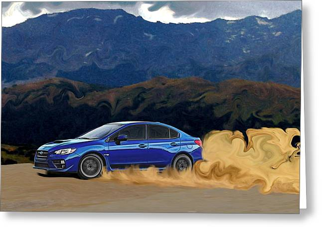 Blue Subaru Greeting Cards - 2015 Subaru WRX Drift Print Greeting Card by Erin Hissong