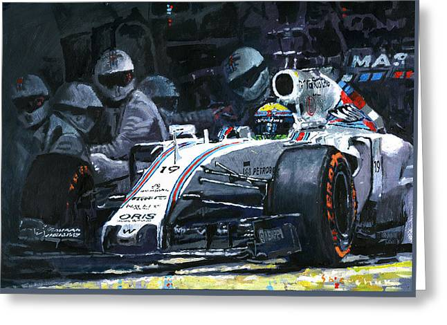 Williams Greeting Cards - 2015 Williams FW37 F1 Pit Stop Spain GP Massa  Greeting Card by Yuriy Shevchuk