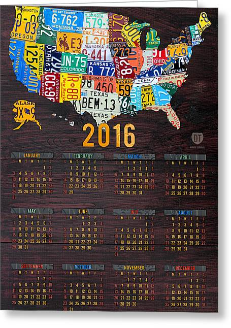 2016 Calendar License Plate Map Of The Usa Recycled Wall Art Greeting Card by Design Turnpike
