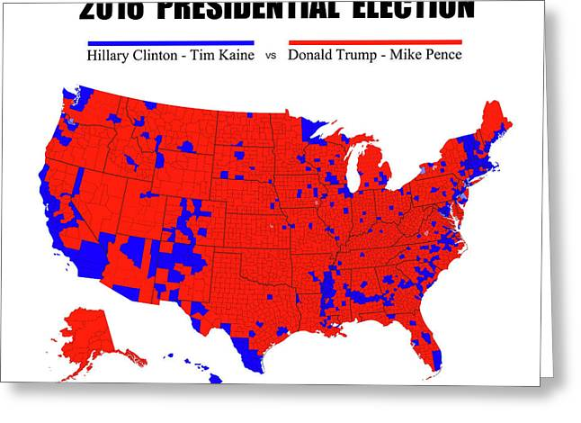 2016 Trump - Pence Vs Clinton - Kaine Election Map - No Border Greeting Card by Daniel Hagerman