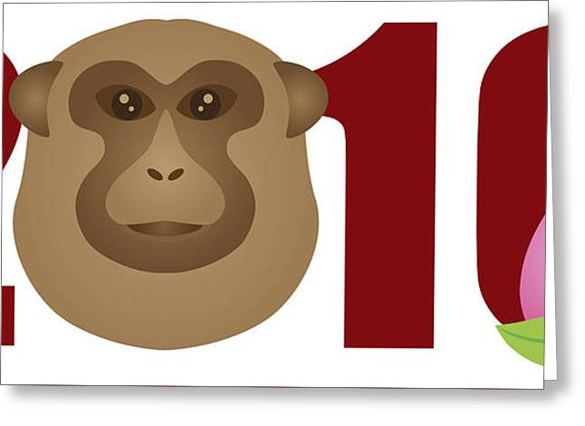 Wildlife Celebration Greeting Cards - 2016 Year of the Monkey Numerals Illustration Greeting Card by Jpldesigns