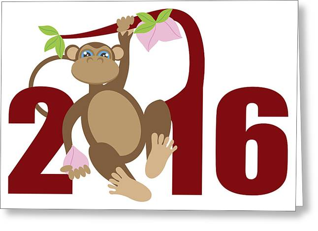 Wildlife Celebration Greeting Cards - 2016 Year of the Monkey on Tree Numerals Illustration Greeting Card by Jpldesigns
