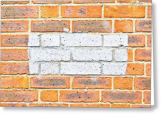Patch Greeting Cards - Brick wall Greeting Card by Tom Gowanlock