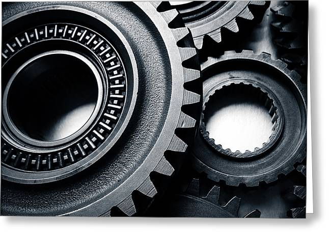 Gearing Greeting Cards - Cogs  Greeting Card by Les Cunliffe