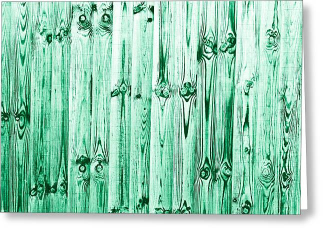 Emerald Green Abstract Greeting Cards - Fence panels Greeting Card by Tom Gowanlock