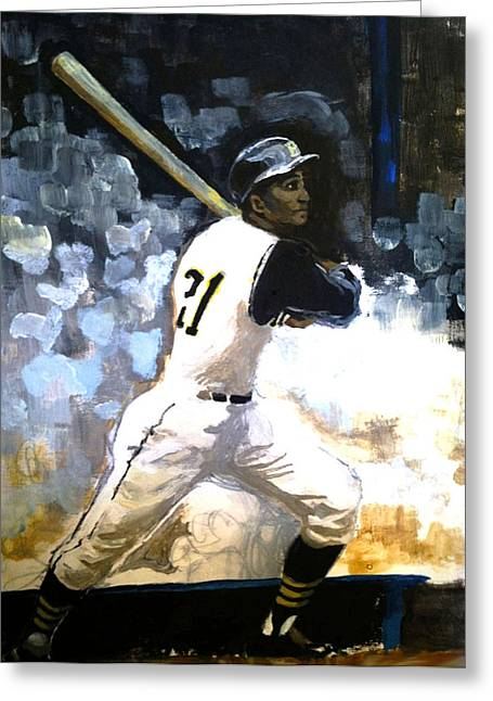 Roberto Clemente Paintings Greeting Cards - 21 Greeting Card by Michael O