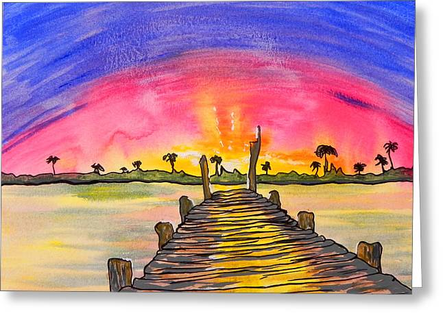 Ocean Shore Mixed Media Greeting Cards - Sunrise / sunset / Indian River Greeting Card by W Gilroy