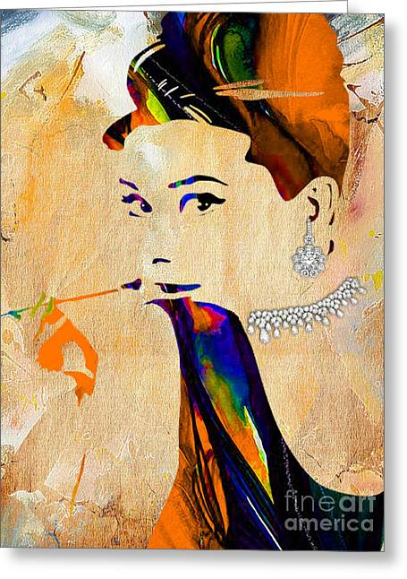Actress Greeting Cards - Audrey Hepburn Collection Greeting Card by Marvin Blaine