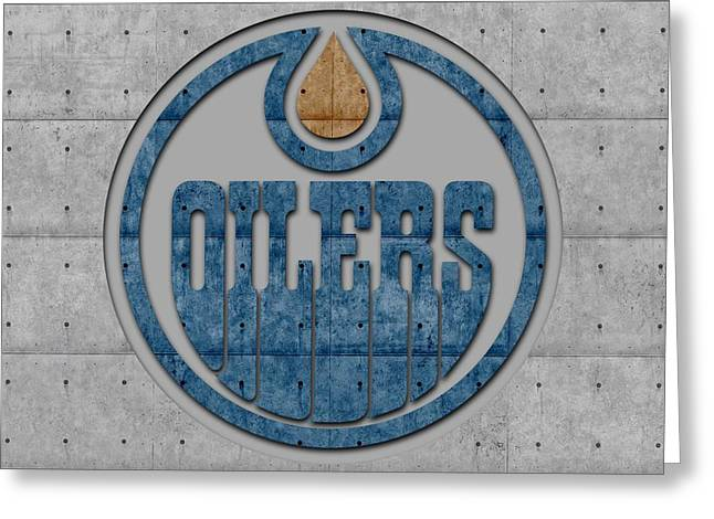 Ice-skating Greeting Cards - Edmonton Oilers Greeting Card by Joe Hamilton