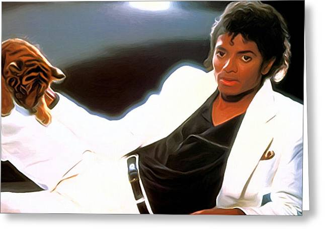 Michael Jackson Greeting Cards - Michael Jackson Art Greeting Card by Victor Gladkiy