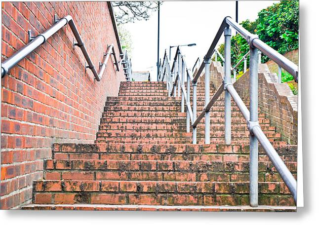 Going Down Greeting Cards - Stone steps Greeting Card by Tom Gowanlock