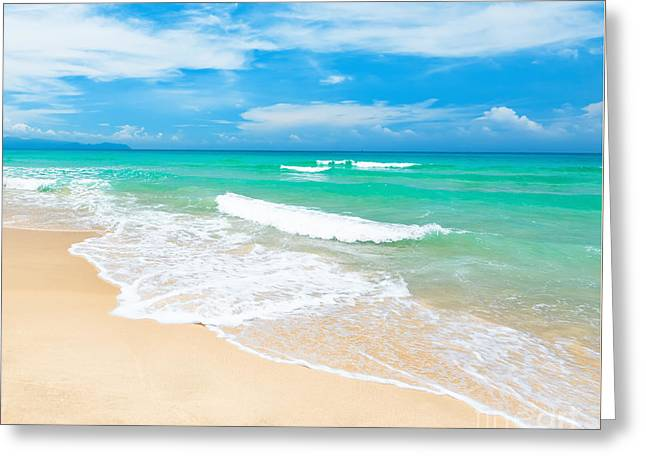 Sky Sea Greeting Cards - Beach Greeting Card by MotHaiBaPhoto Prints