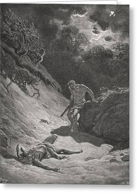 Fratricide Greeting Cards - Engraving From The Dore Bible Greeting Card by Ken Welsh