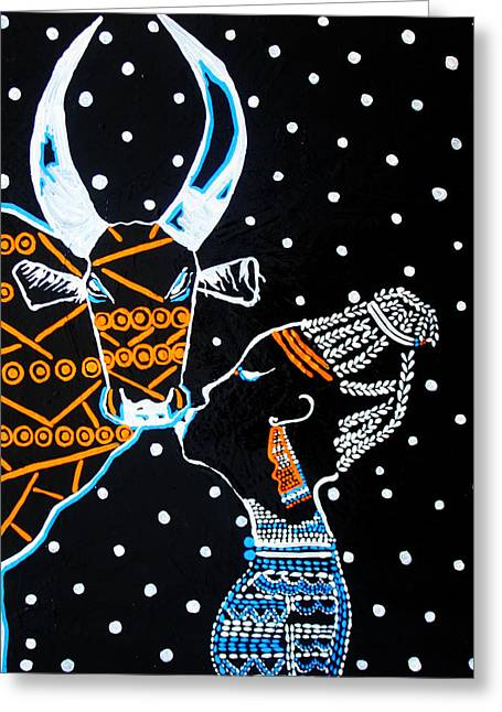 People Paintings Greeting Cards - Nuer Bride - South Sudan Greeting Card by Gloria Ssali