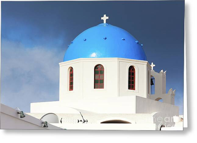 Oai Santorini View Greeting Card by Gualtiero Boffi