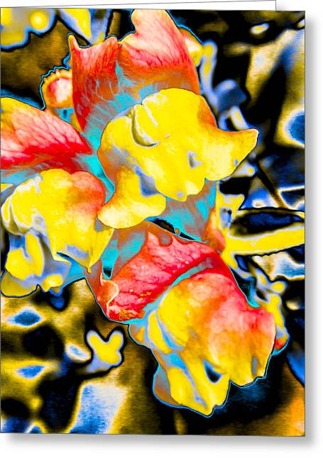 Abstract Digital Photographs Greeting Cards - Psychedelic Abstract Flowers Greeting Card by Julie Wooden
