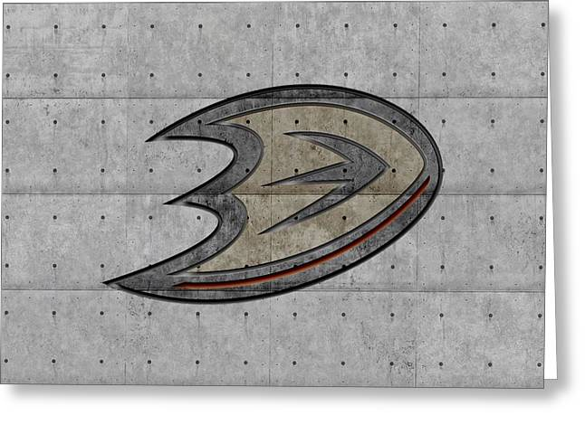 Ice-skating Greeting Cards - Anaheim Ducks Greeting Card by Joe Hamilton