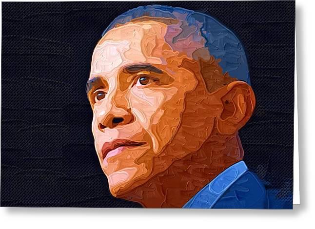 Barack Obama Art Prints Greeting Cards - Barack Obama Portrait Greeting Card by Victor Gladkiy